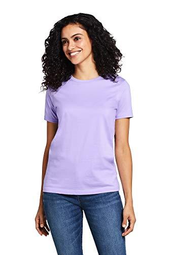 (Lands' End Women's Petite Supima Cotton Short Sleeve T-Shirt - Relaxed Crewneck, XS, Light Amethyst)