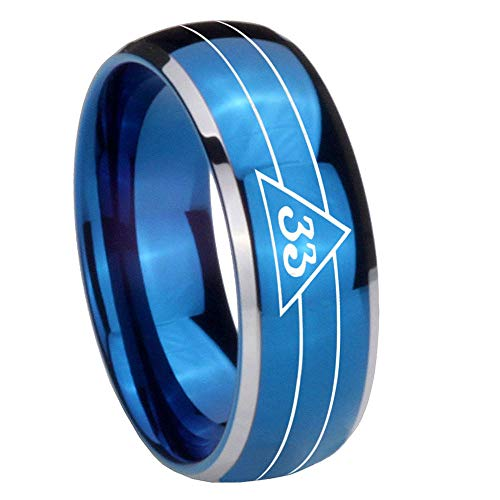 - AnyaDesign Tungsten Masonic 32 Duo Line Freemason Ring, 8mm Glossy Blue Dome Two Tone Tungsten Carbide Rings, Wedding Band Tungsten Rings-9
