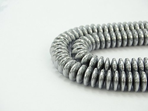 jennysun2010 3x6mm Non-Magnetic Silver Hematite Gemstone Rondelle Spacer Beads 15.5'' Inches Smooth 1 Strand for Bracelet Necklace Earrings Jewelry Making Crafts Design Healing