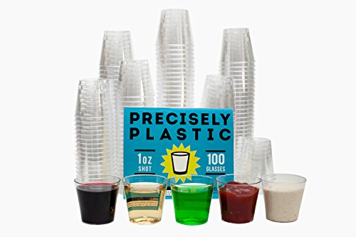 100 Shot Glasses Premium 1oz Clear Plastic Disposable Cups, Perfect Container for Jello Shots, Condiments, Tasting, Sauce, Dipping, Samples]()