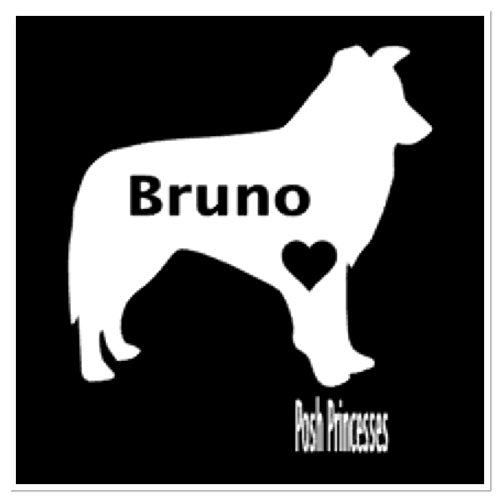 Border Collie Personalized Vinyl Decal, Dog Decal Car Window Decal, Dog Food Container Decal, Laptop Sticker, White 3