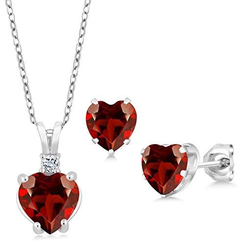 3.68 Ct Heart Shape Red Garnet 925 Sterling Silver Pendant Earrings - Shape Garnet Earrings Pendant