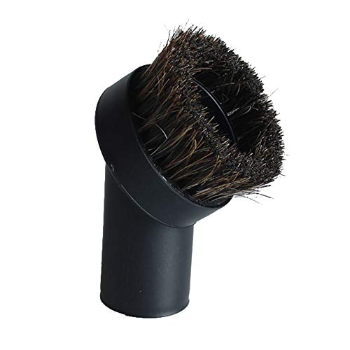 "GIBTOOL Replacement Round Dusting Brush Soft Horsehair Bristle Vacuum Attachment 1.25"" 1-1/4"" 32mm Black Brush for Most Brand Accepting 1.25"