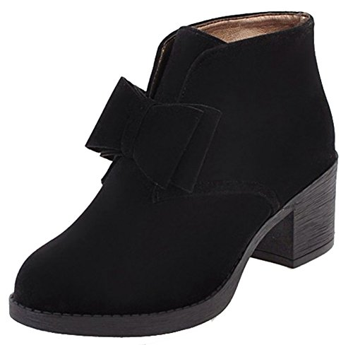 Easemax Womens Trendy Frosted Bows Round Toe Mid Chunky Heel Slip On Boots Black