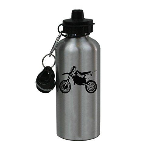 Personalized Custom Dirt Bike Aluminum Silver Finish 20 Ounce Water Bottle Customizable