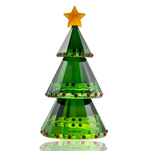 - H&D Green Crystal Glass Christmas Tree Holiday Figurine with Gift Box