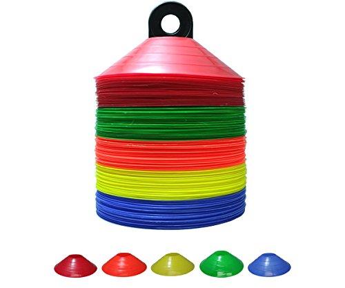 Dome Cone Set - Set of 25/50/100 Soccer Disc Cones - PP(Polypropylene)-Safe& Durable (100 PCS (5 Colors)