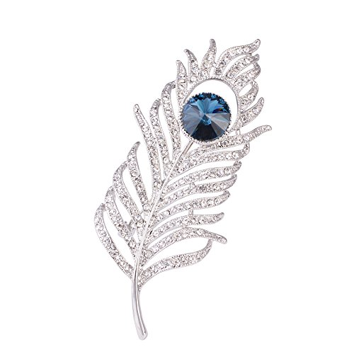 OBONNIE Women Silvery Tone CZ Crystal Rhinestones Large Peacock Feather Brooch Pin Wedding Party Badge