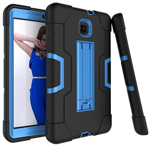 Bingcok Galaxy Tab A 8.0 case 2018, Full-Body Hybrid Shockproof Drop Protection Cover with Kickstand for Samsung Galaxy Tab A 8.0 2018 Model SM-T387 Verizon/Sprint/T-Mobile (Black+Blue)