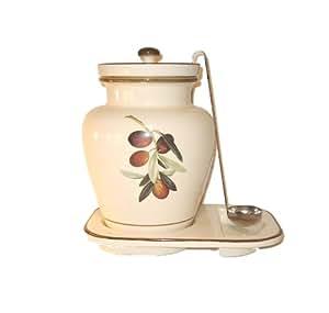 Pepper Mill Imports Creme Ceramic Olive Grape Themed Container, 1-Gallon