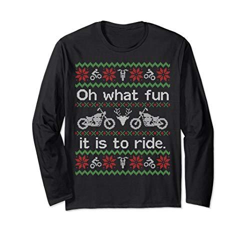 Christmas Motorcycle - Unisex LONG SLEEVE SHIRT Funny Ugly Sweater Christmas Motorcycle XL Black