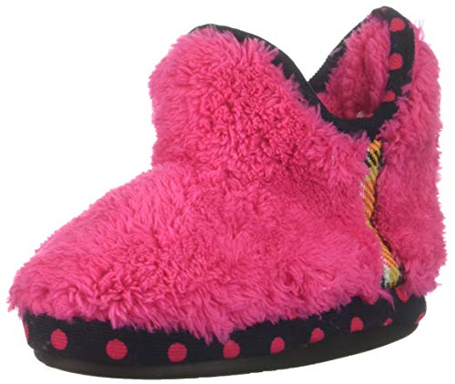 Dearfoams Girls' Kid's Pile Bootie with Mixed Material Trim Slipper, Paradise Pink, 11-12 Youth US Little