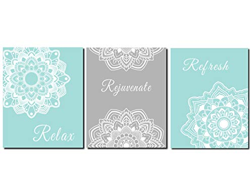 CANVASPrtint Bathroom Decor Aqua Grey Bathroom Pictures Relax Rejuvenate Refresh Guest Bathroom Master Bathroom Decor Set of 3 Prints or Canvas 8x10 inch Each