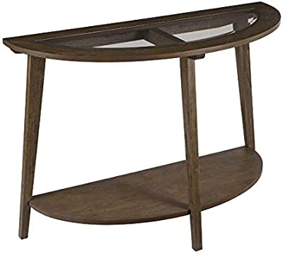 Wood Console Table with Glass Top - Half Moon Console Table with 1 Shelf - Burnt Oak