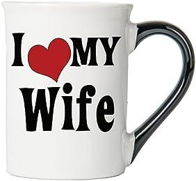 I Love My Wife Large 18 Oz. Coffee Mug; Wife Ceramic Coffee Cup; Gifts For Wife By Tumbleweed