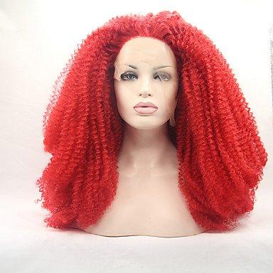 MENRY Mujer Pelucas sintéticas Encaje Frontal Rizado rizado Rojo Entradas Naturales Peluca natural Peluca de Halloween