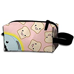 Makeup Cosmetic Bag Bread Machine Cute Face Zip Travel Portable Storage Pouch For Mens Womens
