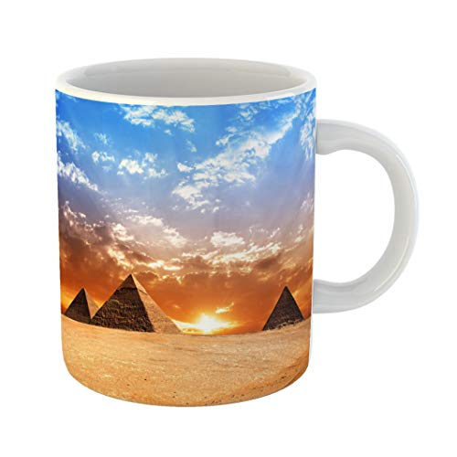 Emvency Coffee Tea Mug Gift 11 Ounces Funny Ceramic Egyptian Egypt Pyramid Historic Buildings Panorama Sunset Gifts For Family Friends Coworkers Boss Mug