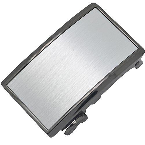 E-Clover Mens Simple Rectangle Ratchet Belt Buckle Automatic Buckle Alloy 3.5cm Width (Style01) - Plain Buckle