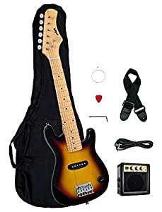1 2 half size kids sunburst 30 inch electric guitar and amplifier pack gig bag. Black Bedroom Furniture Sets. Home Design Ideas