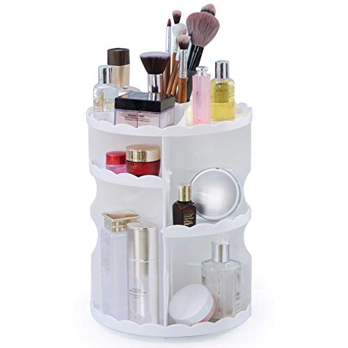 WEBI Makeup Organizer, 360 Degree Rotation Cosmetic Storage,7 Layers Adjustable Multifunctional Large Capacity,Great for Organizing Makeup Sponge,Skin Care, Lipsticks and more, Lace Sculpture,White