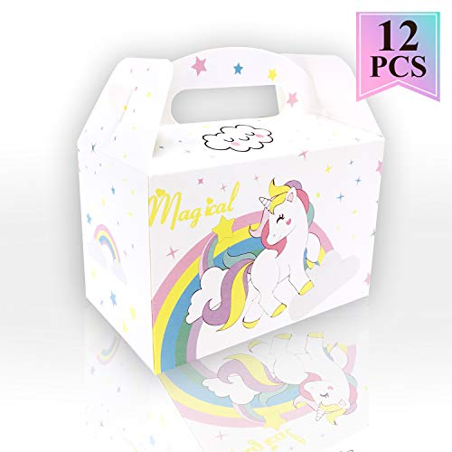 (12Pcs White Cute Unicorn Gift Party Treat Favor Boxes for Unicorn Theme Birthday Parties Supplies)