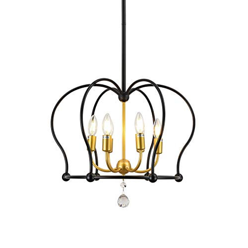 Trongee Modern Gold and Black Candle Chandelier, 6-Light Pendant Light Fixtures with Hanging Crystal for Dining Room…