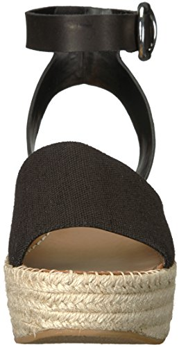 Espadrille Lesly Linen Black Dolce Sandal Women's Vita Wedge wq770tFE