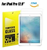 iPad Pro 12.9 inch Tempered Glass Screen Protector, TOWEE 2 Pack Pro 12.9'' Screen Protector Film with Anti-Scratch, Anti-Fingerprint, HD-Clear, Eyes-Protected Function