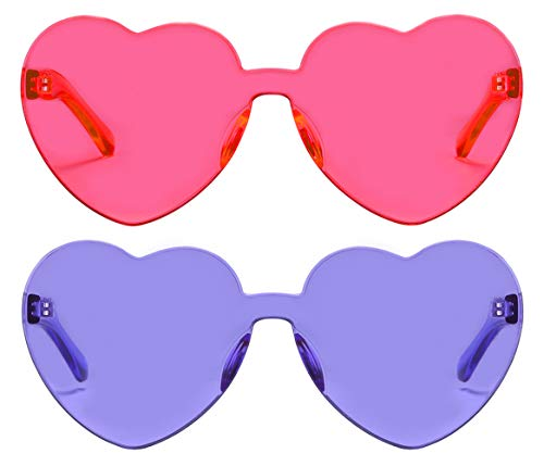 One Piece Heart Shaped Rimless Sunglasses Transparent Candy Color Eyewear(Pink+Purple) -