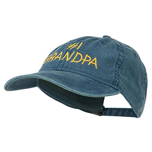 Number 1 Grandpa Embroidered Washed Cotton Cap - Navy OSFM](Number One Grandpa Hat)