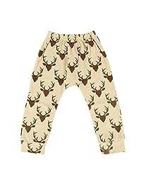 FidgetFidget Bottoms Leggings Harem PP Pants Trousers for Newborn Infant Kids Baby Boy Girls Deer Random Color6-12 Months