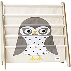 3 Sprouts Book Rack – Kids Storage Shelf Organizer Baby Room Bookcase Furniture, Owl/Gray