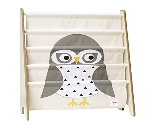 3 Sprouts Book Rack - Kids Storage Shelf Organizer Baby Room Bookcase Furniture, Owl/Gray