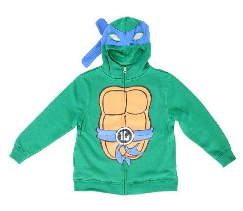 Teenage Mutant Ninja Turtles Leonardo Boys Costume Zip Up Hoodie Sweatshirt (Toddler 3T) (Leonardo Kids Costumes Hoodie)
