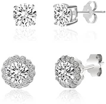 SALE 18K White Gold Over Sterling Silver Cubic Zirconia Round Halo Earring 2 Pair Gift Set