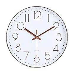 jomparis 12 Inch Modern Wall Clock Silent Non-Ticking Quartz Sweep Decorative Battery Operated Wall Clocks for Home Living Room Bathroom School (Rose Gold)