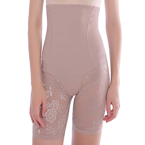 MSJESSIE Shapewear Shorts for Women Seamless Mid Thigh Slimmer Short Tummy Control Panties Beige