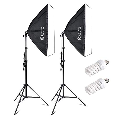 PHOTO MASTER 400W Softbox Photography Lighting Kit with 20x28/50x70cm Softbox 5500K Light Bulbs 1.9m Adjustable Heavy Duty Light Stand and Portable Carry Bag