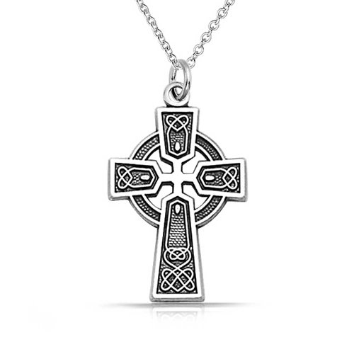 Celtic Irish Viking Love Knot Work Trinity Cross Pendant Necklace For Women Oxidized 925 Sterling ()