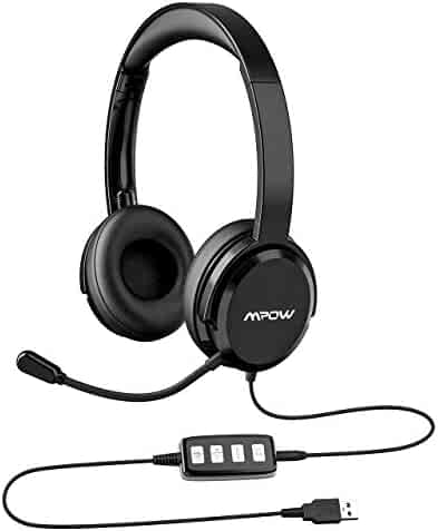 6ae70d85571 Mpow 218 PC Headset, USB Headset/3.5mm Computer Headset, Portable  Lightweight Version
