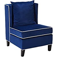 Major-Q Wing Back Style Velvet Accent Chair for Bedroom/Living Room, Solid Pattern with Contrasting Trim, Blue Finish with White Trim 29 x 32 x 39