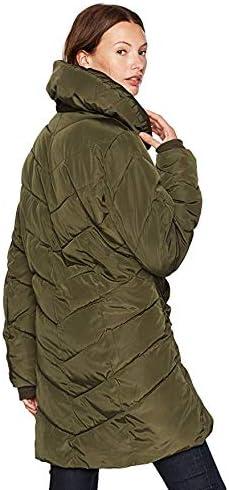 Steve Madden Women's Long Jacket Chervron Quilted Outerwear Coat
