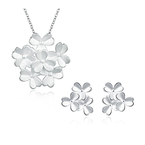 Les Miserables Costumes Ideas (Multilayer 3-leaf Clover Jewelry Set Necklace Earrings Silver Plated Lucky for Womens)