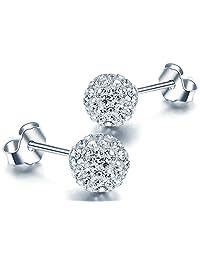 Blingery Austrian CZ Diamond Ball Stub Earrings