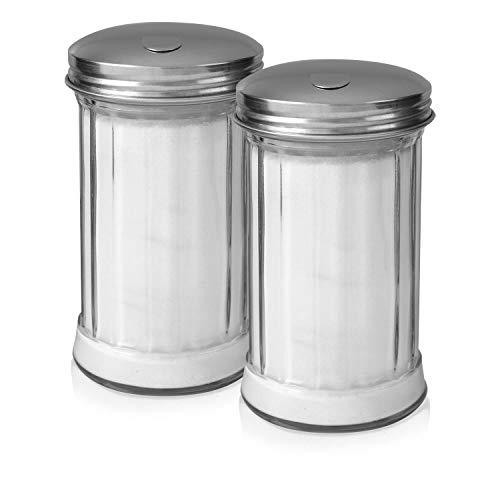 Klee Utensils Sugar Dispenser - Retro Style Glass Jar with Stainless Steel Side Cap Dishwasher Safe for Home & Restaurant Use ... (2) ()