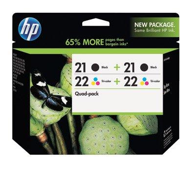 HP 21 Black(2)/22 Tri-color(2) 4-pack Original Ink Cartridges (CD946FN)