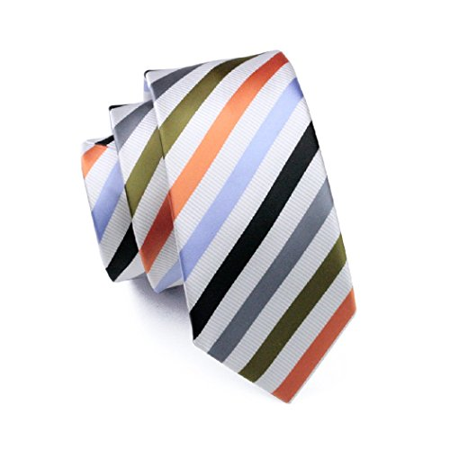 CAOFENVOO Hanky Set Woven 1090 Jacquard Cufflinks Silk Tie Stripes Necktie Men's N rRxOwErI