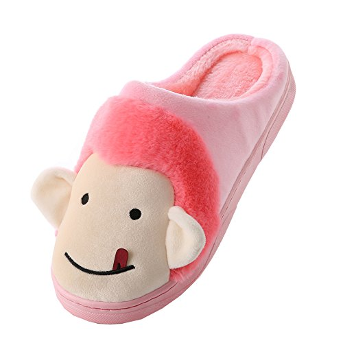 Cartoon monkey cotton home slippers-Unisex winter warm plush boots shoes Red