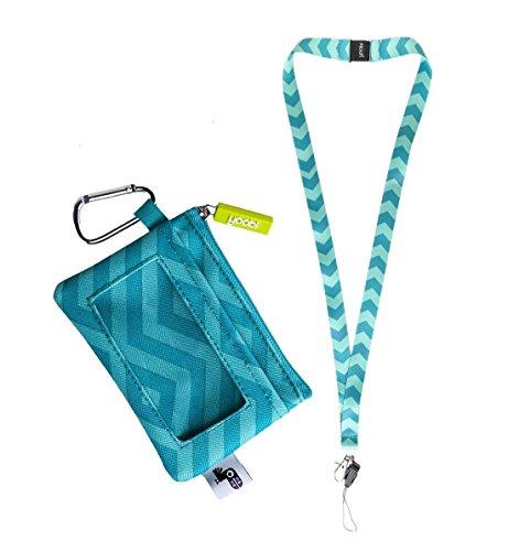 Blue Lanyard Keychain - Yoobi Coin Purse - Student ID Case Holder and Lanyard Aqua Chevron Set